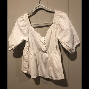 Free people white peasant blouse M NWT